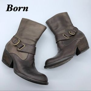 Born Leather Brown Western inspired Ankle Boots 6